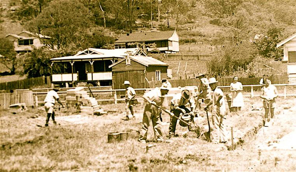 Workers Building Wagstaffe Hall