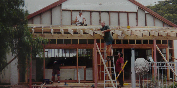 New verandah under construction - 1999